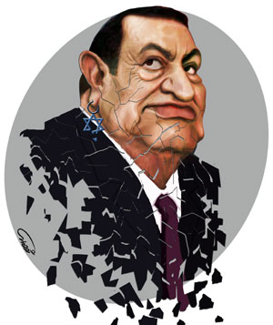 Mubarak falling in pieces