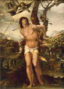 Hl_ Sebastian und Madonna mit Heiligen
