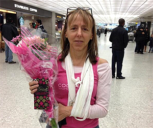 Medea is welcome home in DC by loved ones after being deported via Turkey by Egyptian authorities last Wednesday  Photo/Medea Benjamin/CodePink