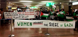CodePink delegation and many other delegations stuck in Cairo airport photo/Medea Benjamin