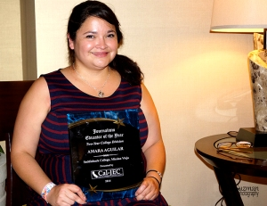 Amara Aguilar receives Journalism Educator of the Year, Two-Year College Division award on April 5, 2014, at Marriet Hotel in Burbank Calif.