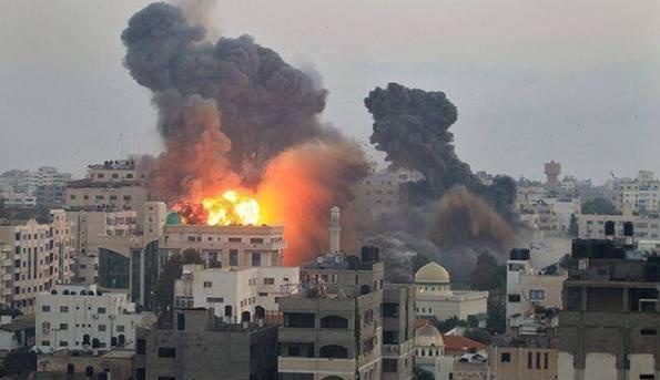 Israel Missiles destroys buildings in Gaza city, July 2014, Gaza, Palestine