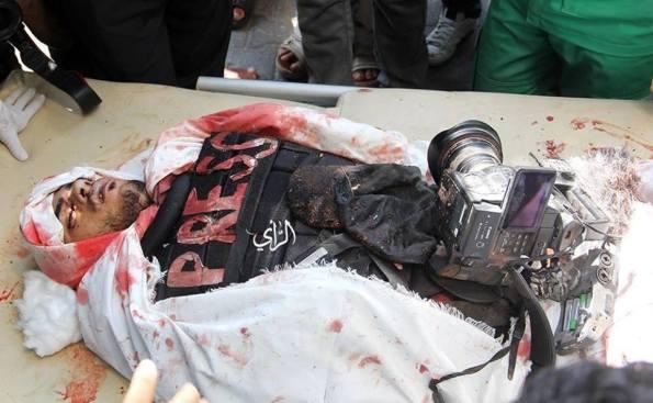 Khaled Hamad,a Palestinian journalist.Killed by a targeted Israeli airstrike while covering Shaja'iya massacre. #Gaza on July 20, 2014 at Gaza, Palestine