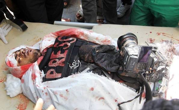 Khaled Hamad,a Palestinian journalist.Killed by a targeted Israeli airstrike while covering Shaja'iya massacre. #Gaza on July 20, 2014 at Gaza, Palestine