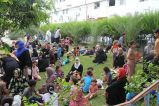Refugees from Shuyaiya seek refugee in the court yard of Al-Shifa Hospital July 10 2014