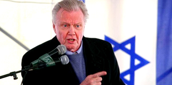 Jon Voight with Israel flag in the background