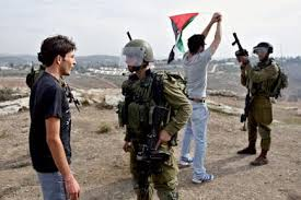 Israel soldiers confronting Palestinian youth in one the weekly demostration in occupied Palestine.
