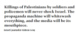 The killing of Palestinians by soldiers and policemen will never shockIsrael
