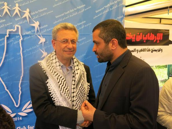Mustafa Barghouti, General Secretary of the Palestinian National Initiative, and Reza Barekati Iranian-representative of Universal Youth Club for Palestine. Al Manar University during the 2015 World Social Forum.  photo/Ali Bagheri