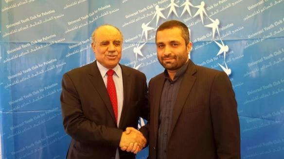Palestinian ambassador to Tunis, Salman Al Harfi greets Reza Barekati, the Iranian representative for  Universal Youth Club for Palestine greets Palestinian at Al Manar University during the World Social Forum 2015