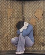 "Domestic Violence a Personal Journey. "" Cornered"" A photo a a photo at Orange Coast College Gallery, on April 15, 2015. Costa Mesa Cali. Photo/Marivel Guzman"