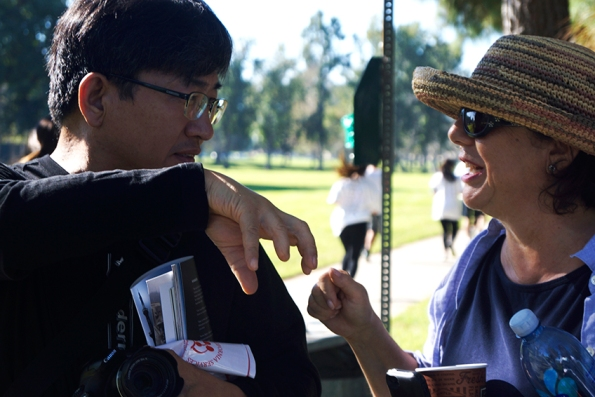 Don Kim, photojournalist from Korean News Agency and Rima Nashashibi Advisory Board for UNRWA USA at the Gaza5k Orange County/LA Race, at Mile Square Park on October 24, 2-15, donation drive for Mental Health Programs in Gaza, Palestine, sponsored by UNRAWAUSA, with the participation of the Palestinian suppoters community, at at Fountain Valley, Calif photo/Marivel Guzman