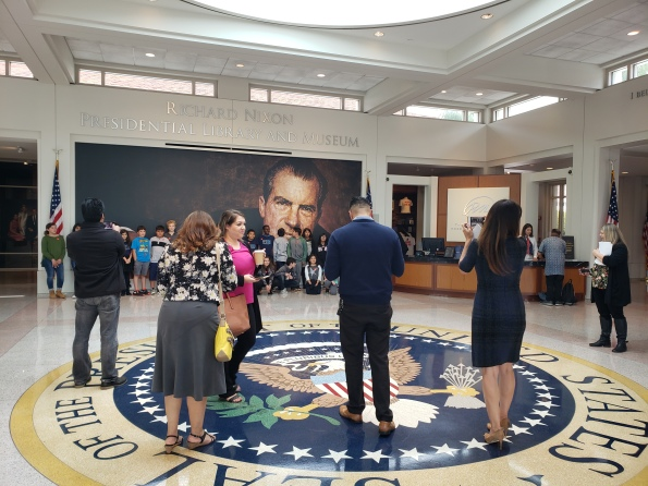 School children in a photo opt at the Richard Nixon Library, Fullerton, Cali. April 29, 2019. (Photo/Marivel Guzman)